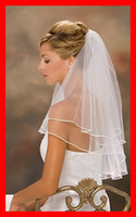 Wholesale New Arrival In Stock Two Layers with beads White Ivory Color Short Bridal Veils Veil With Comb For Wedding Brides