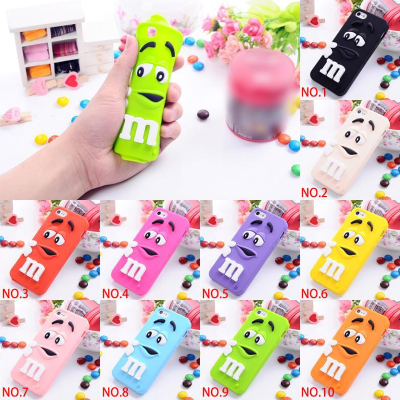 Buy 2016 Soft silicone M&M Fragrance Chocolate Case iphone 6 6S M Rainbow Beans case cover 6G Lovely 3D Cute!