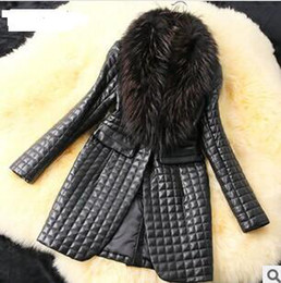 Wholesale 2014 Big raccoon fur collar sheep skin leather and cotton leather jacket long coat
