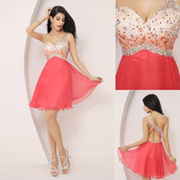 A-Line Tulle Sexy 2014 Cheap Sexy Homecoming Dresses Beading One Shoulder Chiffon Backless Colorful Mini Prom Party Dress Cocktail 8th Graduation Dress Gowns