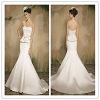 Cheap 2014 Autumn Mermaid Wedding Dresses Sweetheart Sleeveless Zipper Lace Flower Ribbon Sweep Brush Train Stretch Satin Fashion Wedding Gown