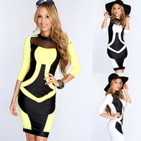 Wholesale 2014 fall new women s club costume ladies sexy club costume dress hit the color package hip Slim dresses M L size drop shipping DY036