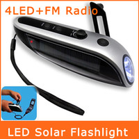 Wholesale Hand Winding Crank Dynamo LED Lighting Solar Flashlight Mobile Power Mobile Phone Charger Flashlight FM Radio