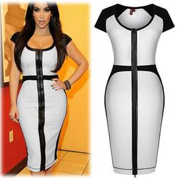 Robes moulantes kardashian à vendre-Kim Kardashian manches courtes Blanc Noir Croix Patchwork sexy moulante Robe crayon célébrité robe vintage S- 2XL pas cher gros DK7910QT OEM