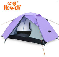 Wholesale Brand Hewolf persons double layer aluminum pole season outdoor quick camping tent