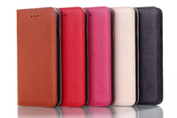 Cheap 10pcs lot New 5 color High Quality Luxury Genuine first layer leather flip wallet Case with Magnets switch For iPhone 6 6G Free ship