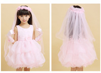 Wholesale WW Pink Cute Sizes Available Flower Girls Dress Ball Gown Hand Made Flowers Lace Pageant Gowns Short Piping Pick Ups Jewel Sleeveless