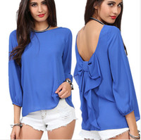 Wholesale Long Style Blouse Patterns - 5605 Spring 2014 European Style Fashion Women Blouse And Summer Chiffon Loose Backless Bow Pattern Shirt Free Shipping