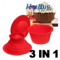 Wholesale 3 Pack Giant Big Silicone Cupcake Cake Mould Top Cupcake Bake Set Baking Mold