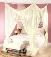 Wholesale FREE SHIP POST BED MOSQUITO NET FOUR CORNER POINT CANAPY BUG CANOPY QUEEN KING SIZE CURTAIN