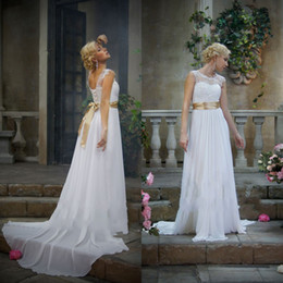 Wholesale Wonderful Sheet Scoop Appliqued Bodice A Line Floor Length Chiffon Wedding Dresses With Sweep Train Sash Bridal Beach Wedding Gowns Lace Up