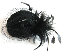 Wholesale Vintage Woman Hats Pillbox Fascinator Hats Wool Cocktail Hats Wedding Guest Hat Formal Evening Headwear Felt Hat Feather Perching Fascinator