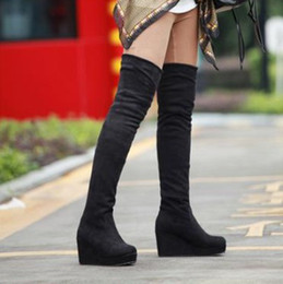 Discount Over Knee Platform Wedge Boots Black | 2017 Over Knee ...