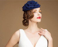 beach headwear - 2015 Pillbox Fascinator Hats Wool Cocktail Hats Wedding Guest Hat Formal Evening Headwear Felt Hat Rose Perching Women Berets Capped Hats