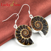 Dangle & Chandelier ammonite earrings - Luckyshine best sell and new style sterling silver plated Natural Ammonite Vintage earring for lady E0111