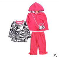 hot pink shirts - 2014 Girls New Style Hot Pink Zebra Hooded Set Cotton Jacket T shirt Pants Pieces Set Kids Autumn Outfit