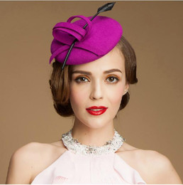 Wholesale Purple Pillbox Fascinator Hats Wool Cocktail Hats Fascinators Wedding Guest Hat Formal Evening Headwear Felt Hat Feather Woman Berets Hats