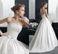 Cheap New Elegant Strapless 2014 Ball Gown Wedding Dresses Stretch Satin Lace Beads Sash Backless Court Train Bridal Gown