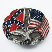 american car flags - American Confederate Rebel Flag Eagle Belt Buckle