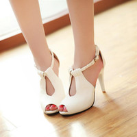 Cheap 2014 nude color plus size ankle wrap ultra high heels sandals for women thin heels sexy female open toe buckle strap sandal shoe