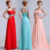 Cheap Cap Sleeve Prom Dresses with Sequins 2015 New 100% Real Empire Pregnant Bridesmaid Dresses Ruffle Pleats Chiffon Lace Up Evening Gowns