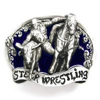 wrestling belt - Blue Rodeo Steer Wrestling Western Belt Buckle