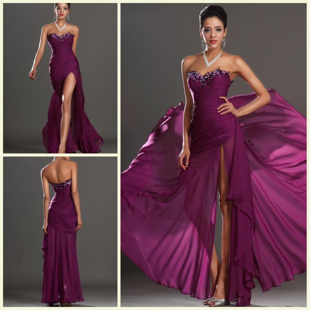 Women 2014 Ruched Long Purple Evening Dress Eaded A Line