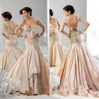 Wholesale 2015 High Quality Sexy Mermaid Prom Dresses One Sleeve Runway Evening Dress Court Train Taffeta Bling Bling Luxury Real Image Formal Gown
