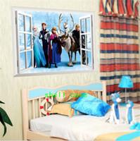 Wholesale DHL New Arrival D Window View Frozen Movie Anna Elsa Decal Removable Wall Sticker Home Decor Art Kids Nursery cm