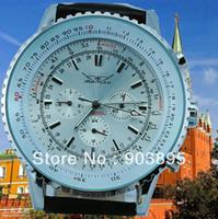 Cheap Jaragar famous brand Rare Russian Military Watch white Dial bezel rotate 6hands calendar leather strap men men's automatic watch