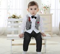 happy - The New Autumn Male Baby Cotton Long Sleeve Virgin Suit Happy Wiz Rabbit Babies And Infants Clothing Gentleman Boy Sets Kids Set GX894