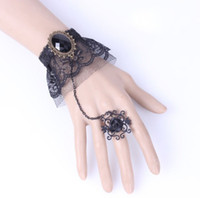 Cheap LN In Stock Charming Retro Precious Stone Black Lace Wedding Bridal Accessories Chain With Ring Bridemaid Bracelets Party Prom 2014 Hot Sale