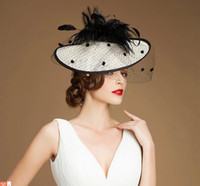 Wholesale 2014 Best Selling White Sinamay Hat Black Feather Fascinator Netting Wedding Bridal Hats Evening Party Banquet Hats Caps