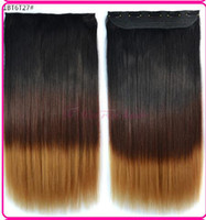 Wholesale 60cm g Long Straight Curl Clip in Hair Extensions Ombre Rainbow color Women Synthetic Clip In hairpiece byjnfiu