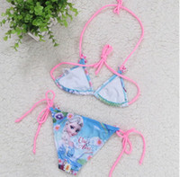 Wholesale Summer Frozen Kids Swimwear Cute Bikini Cartoon Elsa Anna Girl Swimsuit Children Frozen Swim Wear Baby Bikini set GX895