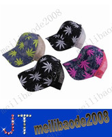 denim fabric - Adjustable Ball Caps Leaf Pattern Denim Fabric Mesh Sun Protection Sun Hat Caps MYY2258A