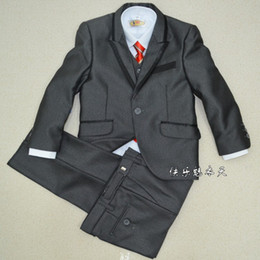 Wholesale Black Boy s suit Kids Complete Designer suit tuxedo Boys Formal Occasion wear one color pieces in stock suit pants jacket bow tie