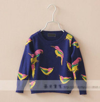 cotton - Vintage Birds Print Autumn Children Kids Clothing Pullover Knitting Thin Sweaters Warm Sweater Girl Clothes White Blue K0734