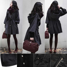 Wholesale Womens WOOLEN Trench Coat Parka Gray puff sleeve Warm Jacket Fashion Outerwear