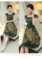 square fashion - 2014 summer Europea Style fashion chiffon party dress green flowal printing square neckline short sleeve casual pleated skirt WM0088