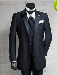 Wholesale 01 black custom wedding Notch Lapel Groom Tuxedos Bridegroom Best Man Suit for men