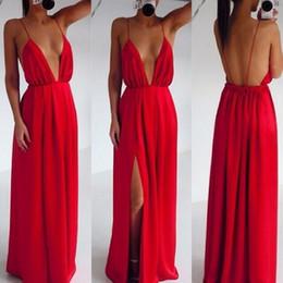 2016 Fashion Women Dresses Sexy Clothing Wedding Elegant Red Strap V-neck Halter Dress Pleated Backless Floor-Length Maxi Party dress E17
