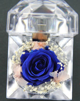 preserved flower - 2014 New Preserved Fresh Flower Rose Babysbreat Acrylic Ring Box Gift Artificial Flowers Christmas New Year Valentine s Day Wedding Birthday