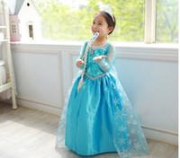 Wholesale Discount Cosplay Frozen Children Dresses Frozen Baby Kids Clothing Skirts snow princess dress lace mesh Long Skirt Elsa dress