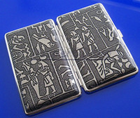 Cheap 20pcs lot Exquisite Egyptian Pattern Stainless Steel Cigarette Case Silver Grey Hold For 14pcs 100mm Cigarettes