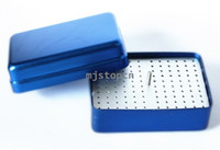 Aluminium 118*83*50mm  120 Holes Bur holder Disinfection Box For high low speed Burs Endo Files Blue