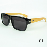 wood eyewear - 2014 Wood Sunglasses Square Black Designer Sunglasses Bamboo Temples And Plastic Frame Vintage Eyewear Mix Colors
