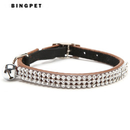 Free Shipping Bling Crystal Real Leather Puppy Cat Collar with Safety Elastic Belt & Bell collar for cats Cat Products