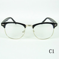 lens optical - Fashion Eyeglasses Frame Metal Half Optical Frames Clubmaters Style Clear Lenses Colors Drop Shipment