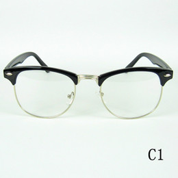 Wholesale Fashion Eyeglasses Frame Metal Half Optical Frames Clubmaters Style Clear Lenses Colors Drop Shipment